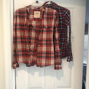 Hollister and Abercrombie plaid button down sz XS